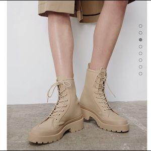 Zara Faux Combat Ankle Boots Sz 40